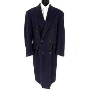 Burberry Navy Cashmere Double Breasted Long Coat